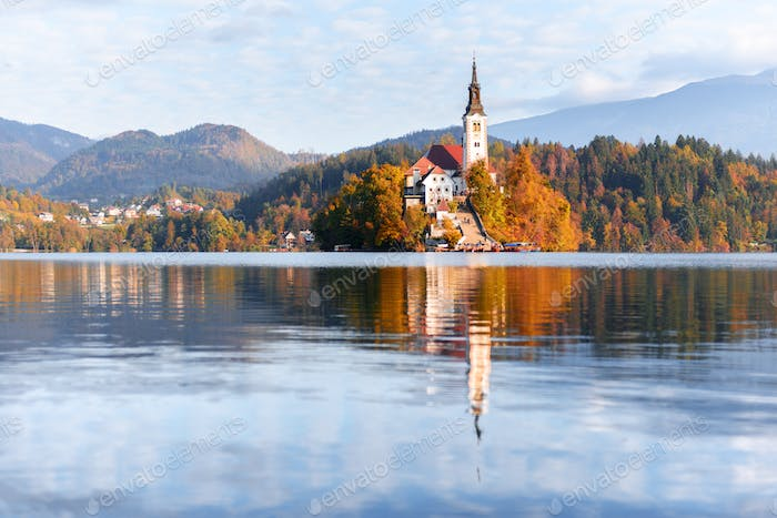 Colorful sunrise view of Bled lake in Julian Alps, Slovenia