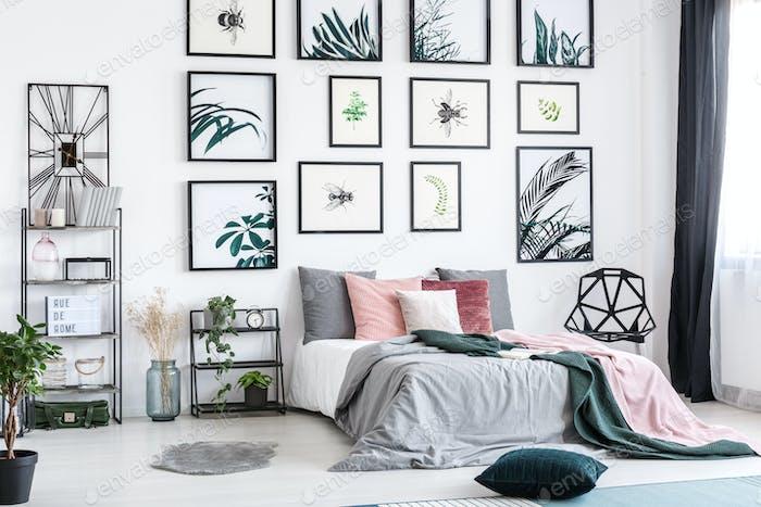 Designer clock in cozy bedroom