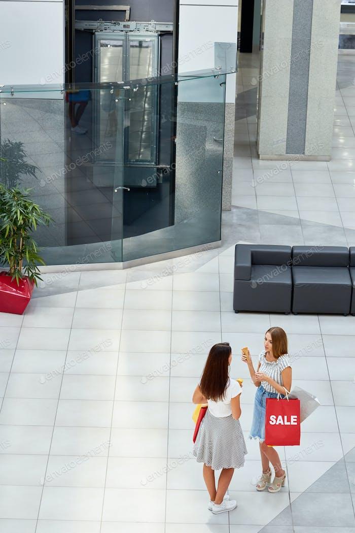 Young Women  in Shopping Center