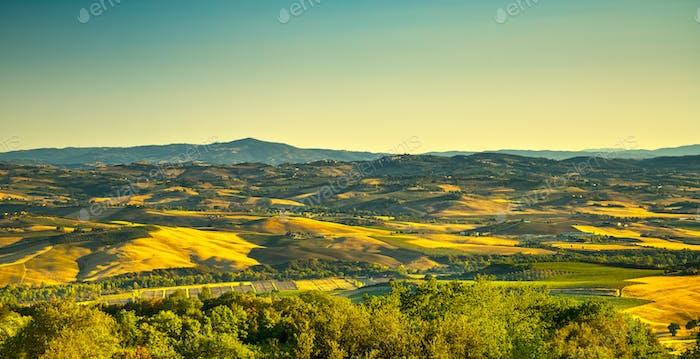 Tuscany countryside view from Montegiovi. Tuscany, Italy