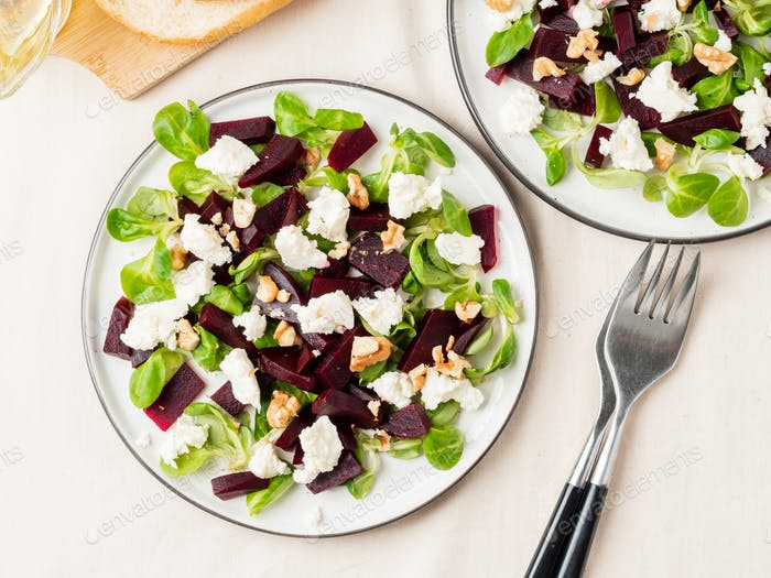 beetroot salad with feta, cheese, walnuts, corn salad and Brined cheese,