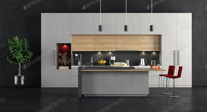 Minimalist concrete and wooden Kitchen