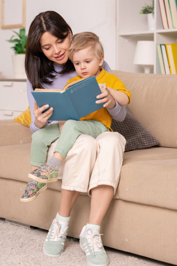 Reading childrens book with pictures