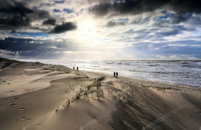 sunlight over sand dunes and stormy sea