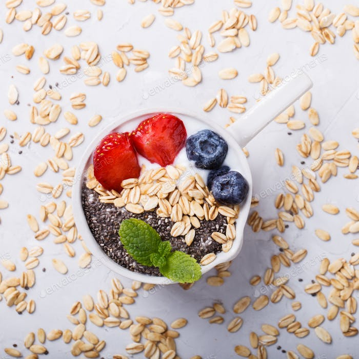 Oatmeal,yogurt,honey,strawberries and blueberries .Healthy Breakfast