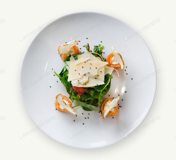 Restaurant dish on white plate on isolated background