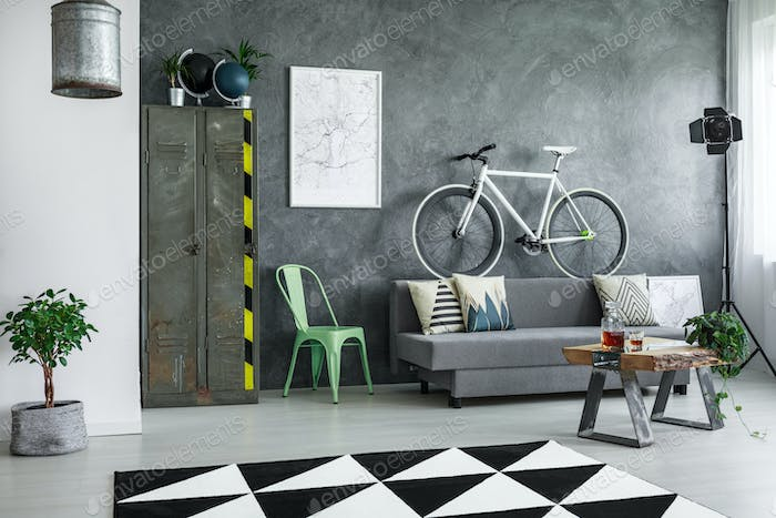 Industrial living room with bike