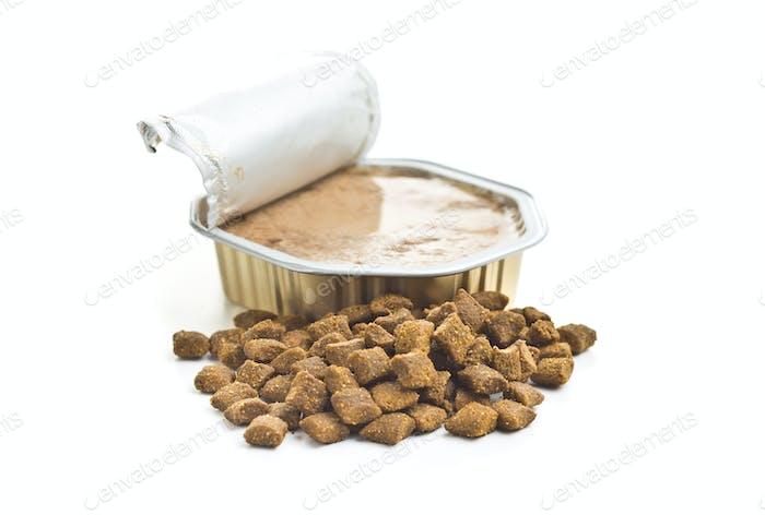 Wet pet food. Cat or dog pate.