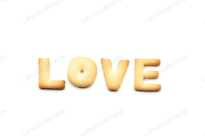 Word love biscuit isolated on white background