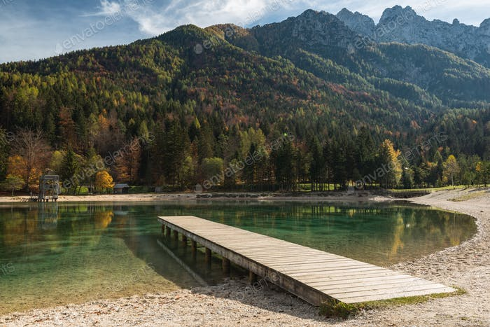 Picturesque Jasna lake at sunny autumn day,Slovenia