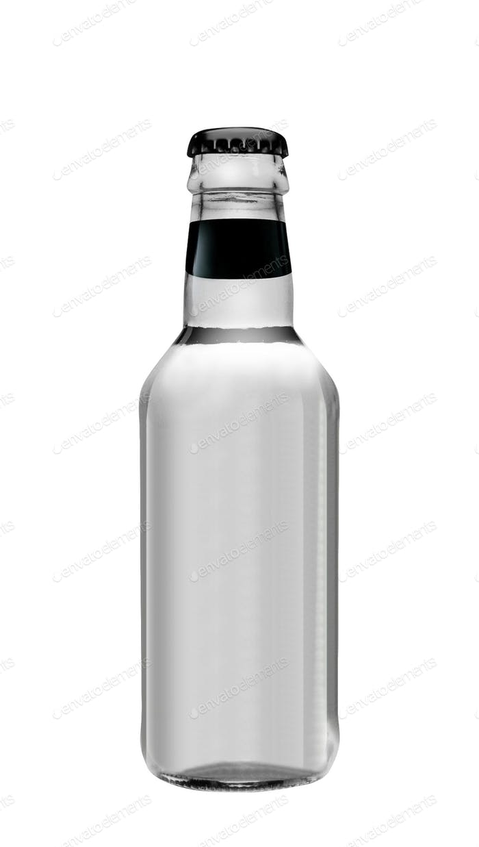 Soda water in glass bottle isolated on white background