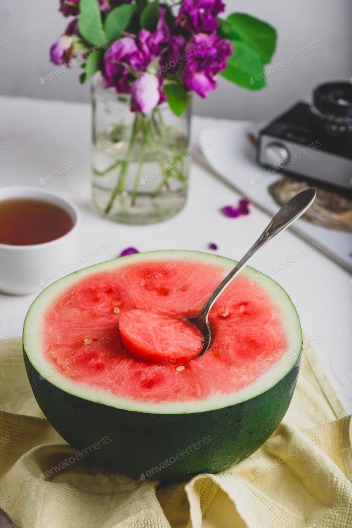 The Spoon in the Ripe Red Watermelon