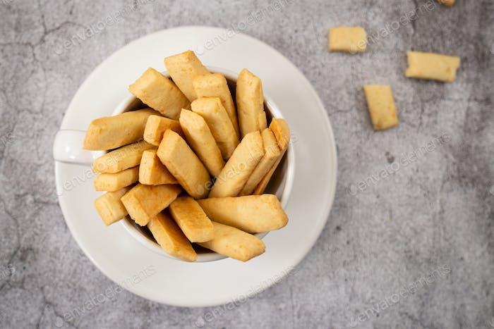 Parmesan cheese cookie sticks