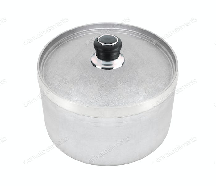Steel pan isolated on white