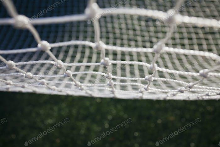 Nahaufnahme eines weißen Netzes, Fischernetz.
