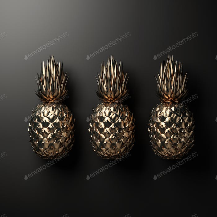 Gold pineapple on black background 3D rendering