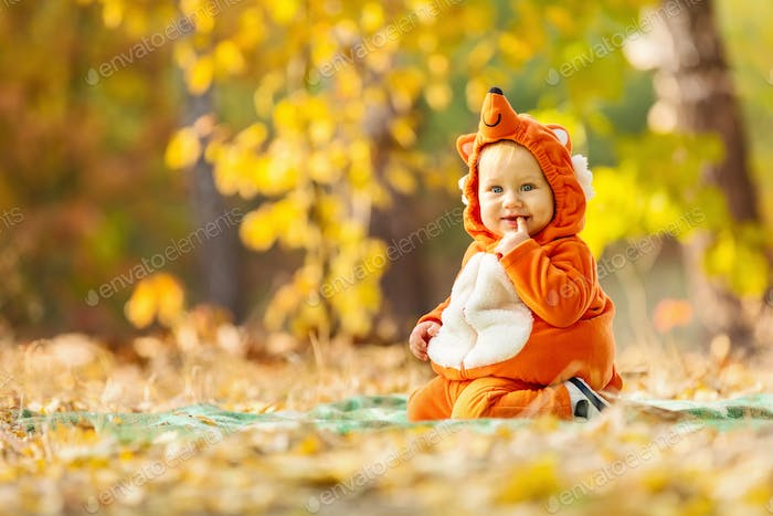 Cute baby boy dressed in fox costume