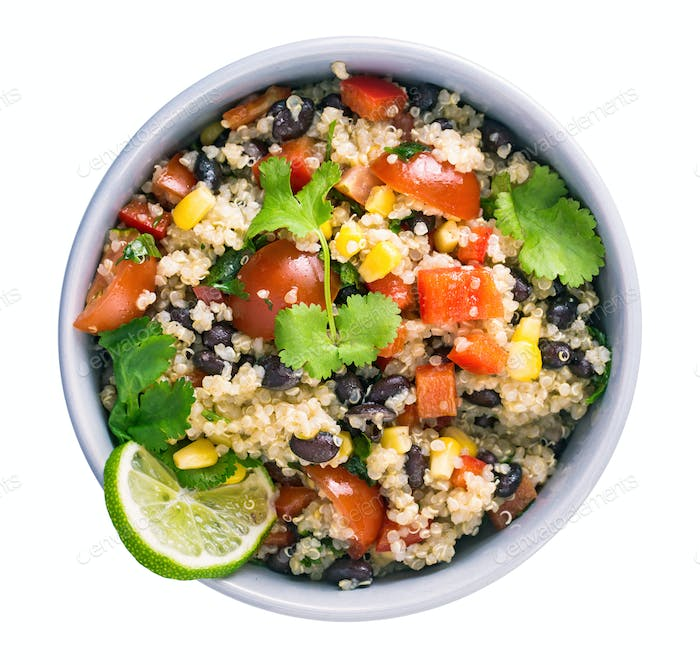 Black bean quinoa salad isolated