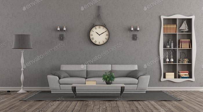 Elegant gary living room with sofa and niche with books - 3d rendering