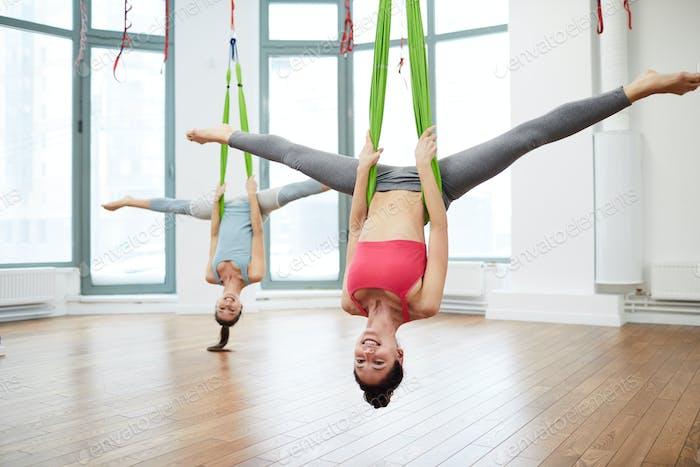 Women doing Fitness in Hammocks