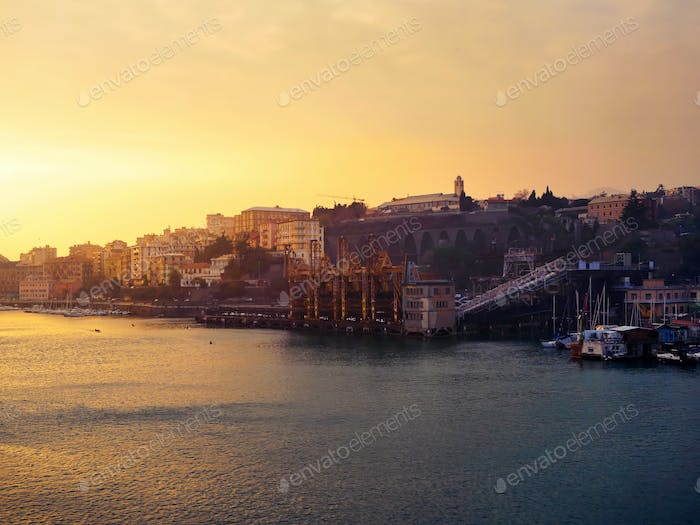 Sunset view of Savona, Italy