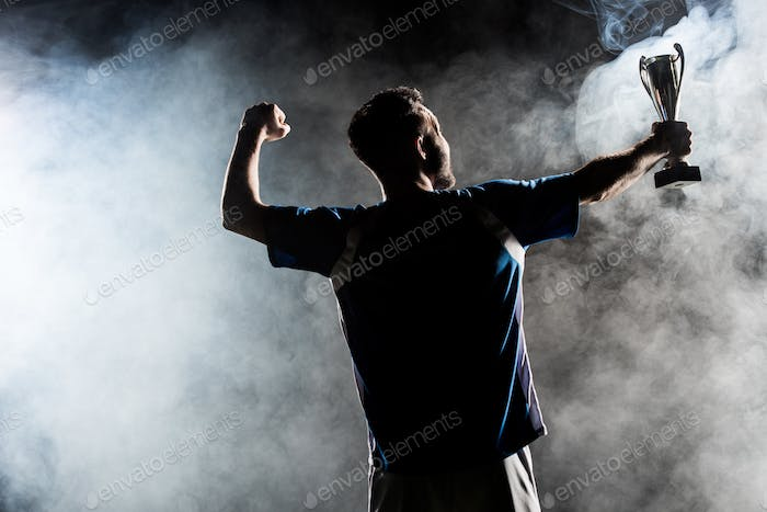 silhouette of man standing with trophy on black with smoke