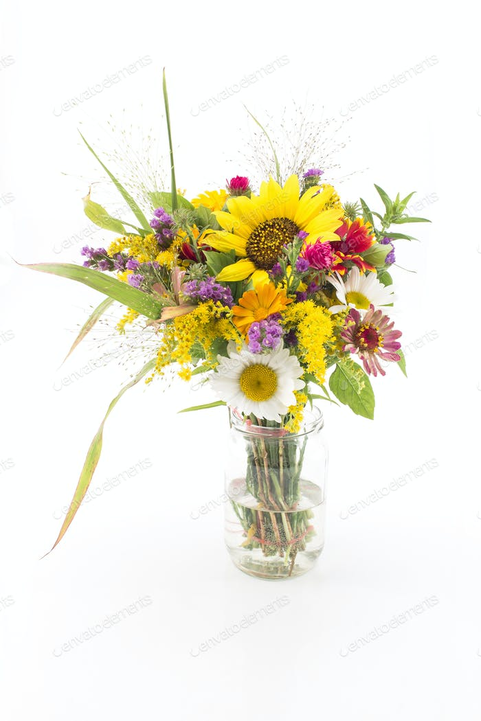 Fresh Bouquet of Summer Flowers Isolated no White