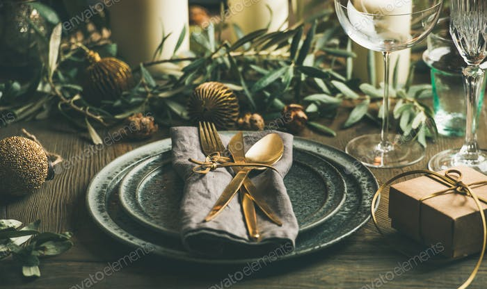 Christmas or New Years eve celebration party table setting