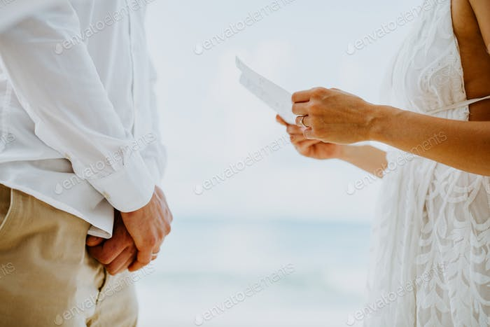wedding vows ceremony on beach