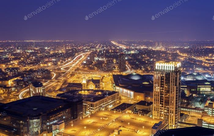 Panorama of Minneapolis at sunset