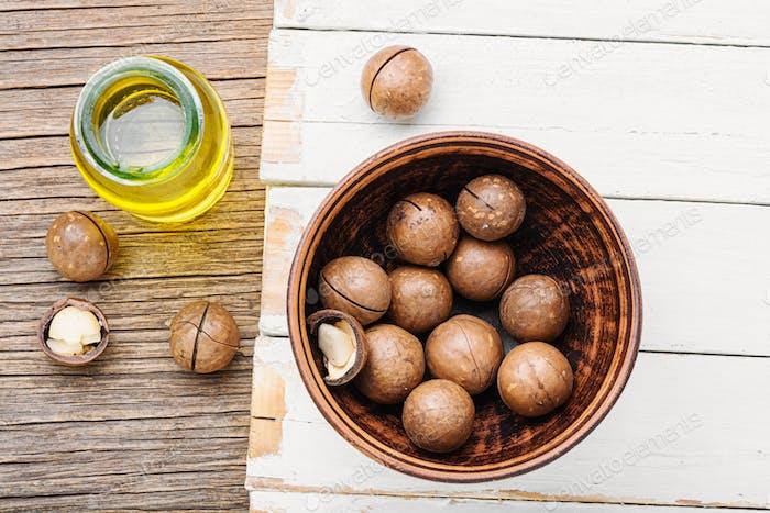 Macadamia-Nüsse in der Schale