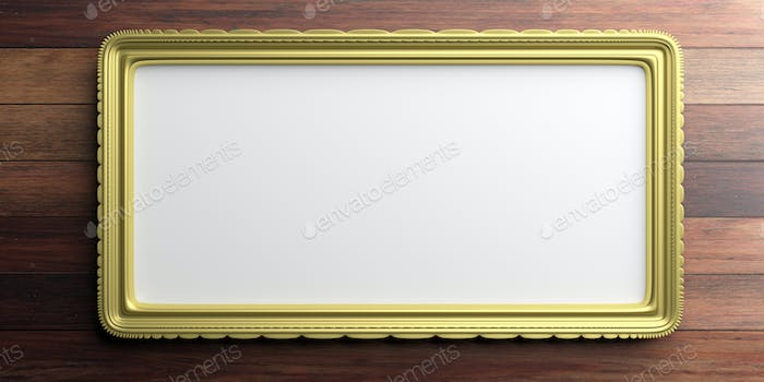 Golden frame on wooden background. 3d illustration