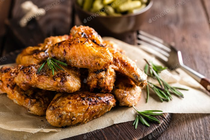 Thumbnail for BBQ chicken wings, spicy grilled meat