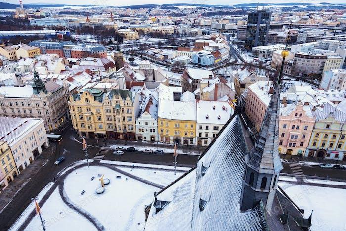 Republic Square in Pilsen - aerial view