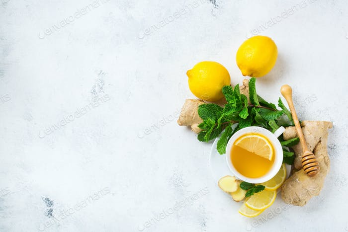 Ginger tea in a cup for flu cold winter days