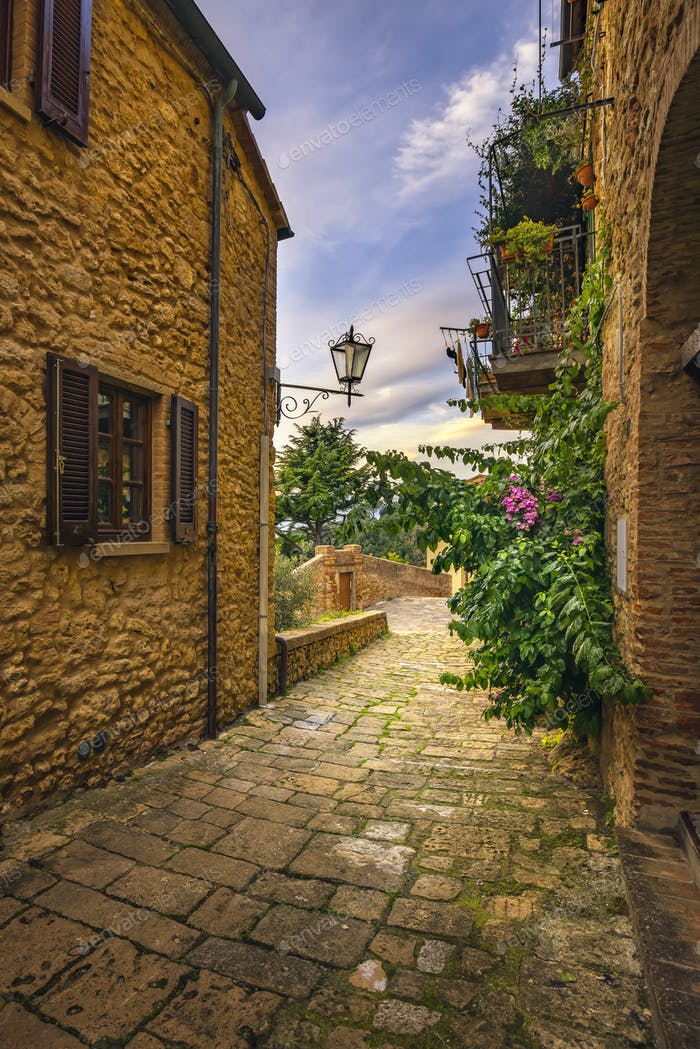 Casale Marittimo old stone village in Maremma. Picturesque flowe