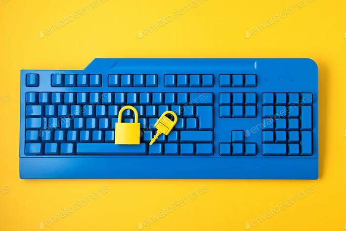 Datos cibernéticos e idea de seguridad de la información. Candado amarillo y tecla y teclado azul. Computadora