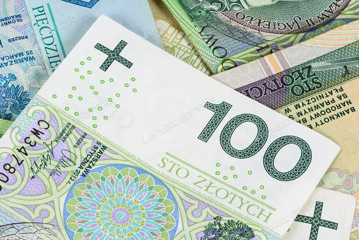 Closeup of 100 pln banknote