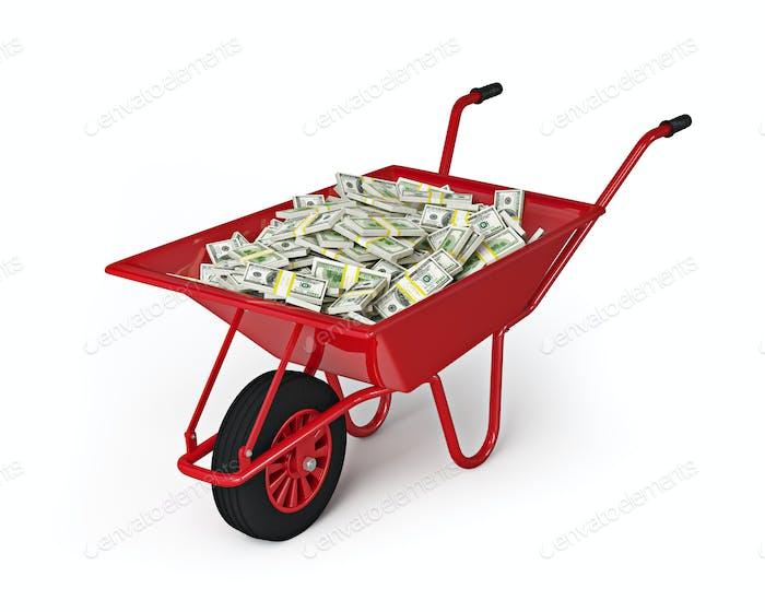 Wheel barrow full of dollars isolated on white background