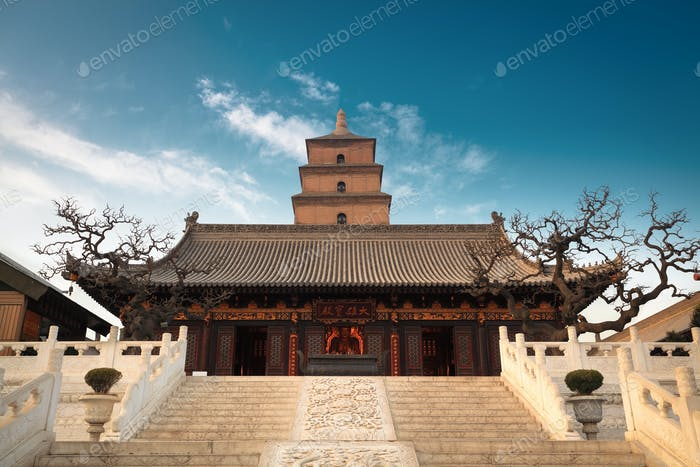 the great buddha's hall with giant wild goose pagoda