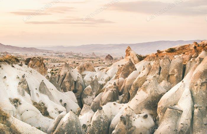 Valley with volcanic tuff stone rocks in Cappadocia
