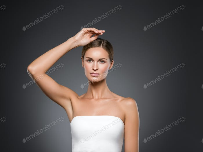 Armpits woman hands up beauty
