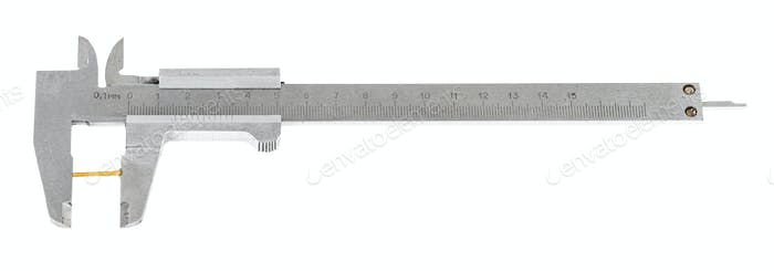 old steel calipers measures brass screw isolated