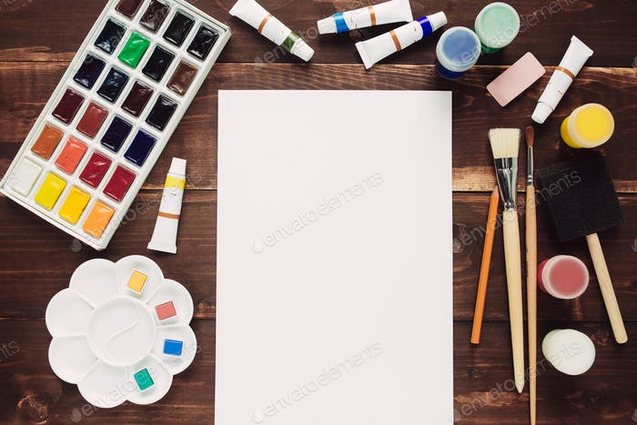 Paint supplies and blank paper