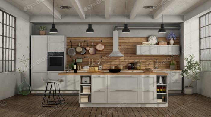 Retro white kitchen in a loft