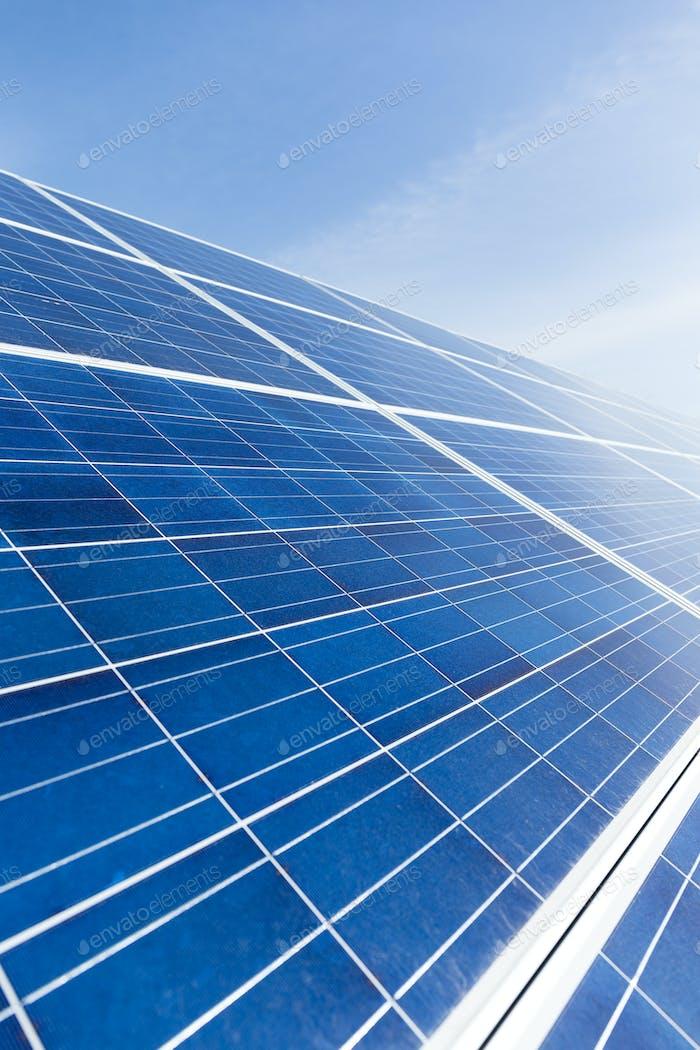 Solar panel with blue sky