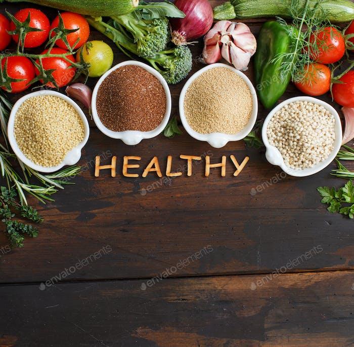 Glutenfreie Getreide und Gemüse