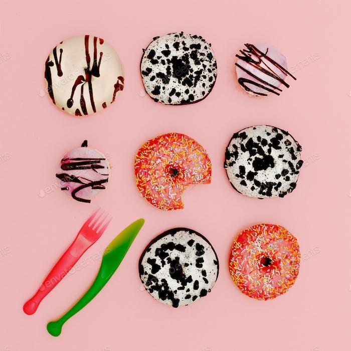 Mix donuts. Fashion Fast Food minimal art Surreal Creative