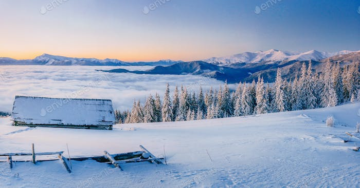 chalets in the mountains at sunset. Carpathian, Ukraine Europe