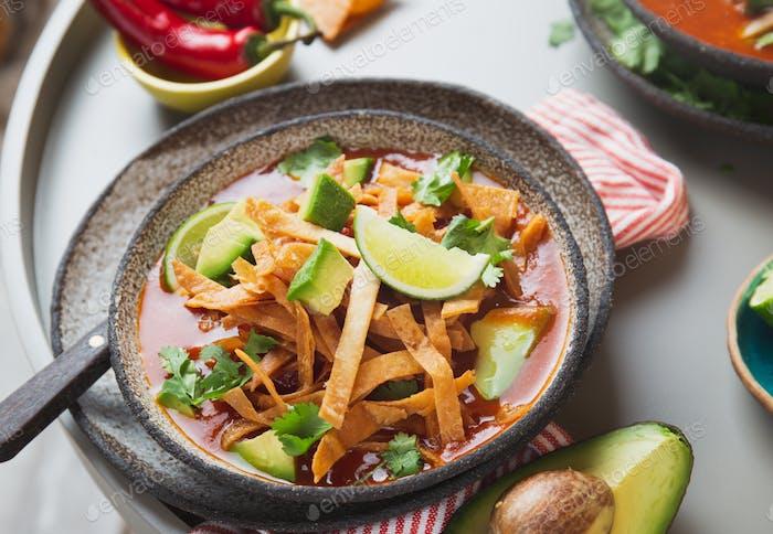 Aztec soup. Close up of mexican tortilla soup Sopa Azteca